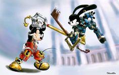 King Mickey vs Oswald the lucky rabbit (Kingdom Hearts) Disney Pixar, Arte Disney, Disney And Dreamworks, Disney Mickey, Disney Art, Mickey Mouse, Kingdom Hearts Tattoo, Kingdom Hearts Fanart, Disney Kingdom Hearts