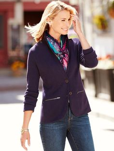 """Love, love, love.  So dark and so casual.  This is """"black current"""", but there is also a dark rum raisin.  Sweater Blazer - Talbots"""