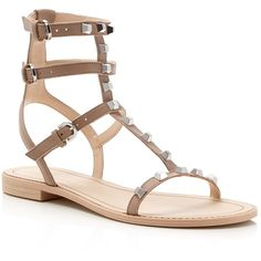 Rebecca Minkoff Georgina Studded Gladiator Sandals (495 RON) ❤ liked on Polyvore featuring shoes, sandals, sand, gladiator sandals, sand shoes, greek sandals, studded t-strap sandal and rebecca minkoff sandals