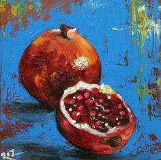 Pomegranate 1 painting inch original still life oil painting by Roz Pomegranate Art, Abstract Painting Techniques, Still Life Oil Painting, Fruit Painting, Jewish Art, Still Life Art, Fruit Art, Art Sketchbook, Animal Paintings