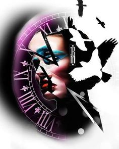 #face #surrealism #surrealistic #birds #clock #colour #tattoo #design #glass #worldfamousink