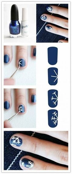 I love snowflakes DIY Snow Flake Nails nails diy craft nail art nail trends diy nails diy nail art easy craft diy nail tutorial easy craft ideas Do It Yourself Nails, Do It Yourself Fashion, How To Do Nails, Holiday Nail Designs, Holiday Nail Art, Cute Nails, Pretty Nails, Nagellack Design, Snowflake Nails