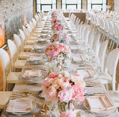 Stunning I Love Those White Chairs Pink Wedding Centerpieceswedding Decorationslong Table