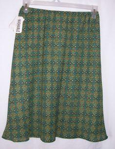 Worthington Misses Women's sz 10 Petite Olive Print Stretch Waist Skirt NWT #Worthington #Knee