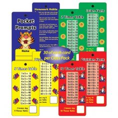 Class Pack: 30 Sets of 2, 5, 10 Times Table Pocket Prompts