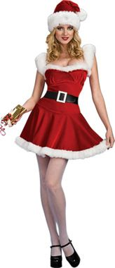 A perfect costume for celebrating the holiday season with your own special Santa! Red dress with white plush faux fur on hem and bodice, matching hat and black belt. Adult small size fits sizes 6-8.