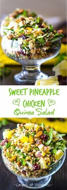 Pineapple Chicken Quinoa Salad A light and healthy quinoa salad loaded with grilled chicken, salted pistachios, and shredded coconut.A light and healthy quinoa salad loaded with grilled chicken, salted pistachios, and shredded coconut. Lunch Snacks, Healthy Snacks, Healthy Eating, Healthy Recipes, Lunches, Radish Recipes, Quinoa Salad Recipes, Spinach Recipes, Tofu Recipes