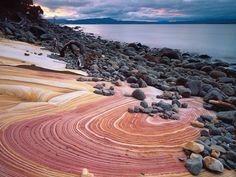 The painted cliffs Maria Island. Photo credit to Discover Tasmania. Brisbane, Melbourne, Sydney, Tasmania Road Trip, Tasmania Travel, Places To Travel, Places To See, Travel Destinations, Bruny Island