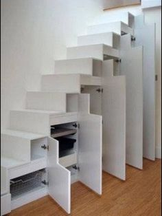 Staircase storage. I need this in my basement!!! www.specialneedspublications.com