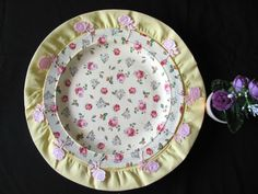 HANDMADE CERAMIC DECORATIVE PLATE ACRYL MULTI COLORS LACE +FABRIC FLOWERS GIFT #HandmadeBYRIVKAFILIN