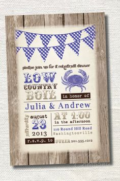 LOW COUNTRY BOIL Crab Barbeque Engagement/Rehersal Dinner Party Invitation - You Print via Etsy