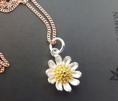 sterling silver rose gold silver plated and gold plated sterling silver dainty daisy necklace mixed metals by YouNiqueYou on Etsy
