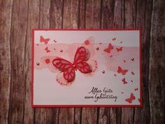 Geburtstagskarte in Flüsterweiß, Melonensorbet, Calypso und Kirschblüte mit Watercolor Wings und Perpetual Birthday Calendar