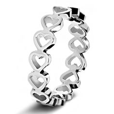 West Coast Jewelry Stainless Steel Open Heart Eternity Ring ($13) ❤ liked on Polyvore featuring jewelry, rings, grey, jewelry & watches, eternity band ring, cocktail jewelry, cocktail rings, eternity ring and stainless steel rings