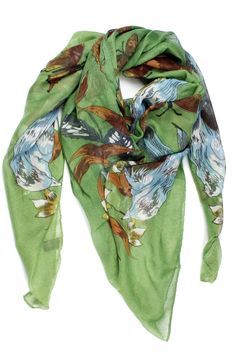 """Green lightweight scarf with a bird print.  Measures: 42"""" x 42""""  Green Bird Scarf by Violet Del Mar. Accessories - Scarves & Wraps San Diego California"""