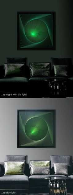 "3D Abstract String Wall Art, Dark Green, Spring Green, Framed 28,7""x28,7"" (73x73 cm), special UV effect, behind glas, for Office or Home - pinned by pin4etsy.com"