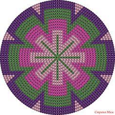 Bottom mochila bag or basket 20 rows .crochet inspiration ONLY. Tapestry Crochet Patterns, Crochet Motifs, Crochet Chart, Crochet Stitches, Loom Beading, Beading Patterns, Mochila Crochet, Crochet Diy, Tapestry Bag