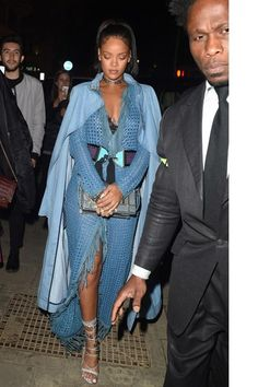 Rihanna wearing Dsquared2 Pre-Fall 2015 Ayers Snakeskin Lace-Up Sandals, Dior…