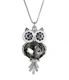 Owl Necklace, Owl Jewelry in Swarovski Crystal