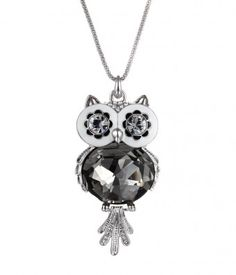 Owl Necklace, Owl Jewelry in Swarovski Crystal