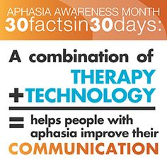 This Aphasia Awareness Month fact shows us that with the help of technology and continuing speech therapy practice, people with aphasia can gain back enough communication and independence to re-enter their communities. To learn more about our research on this topic, visit: http://www.aphasia.com/aphasia-rehab/value-of-early-and-ongoing-speech-therapy
