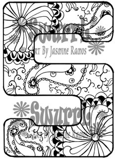 Instant Download Coloring Page Monogram Letter S By Swurrl On Etsy, $0.99