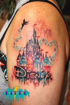 This Disney castle tattoo shows the Florida castle with fireworks but it could easily be adapted to the one in Anaheim. Time Tattoos, New Tattoos, Body Art Tattoos, Tatoos, Disney Sleeve Tattoos, Best Sleeve Tattoos, Disney Tattoos Quotes, Harry Potter Tattoos, Finger Tattoos