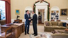 The President bids farewell to the 2012 Republican presidential candidate, Mitt Romney. After a long election season, both candidates came together one last time for lunch.   Photo courtesy of the White House, Pete Souza