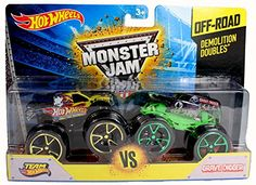 Hot Wheels Monster Jam Demolition Doubles - Team Hot Wheels VS Grave Digger with Track Ace Tires Ford Gt, Ford Mustang, Hot Wheels, Monster Jam, Chevy Silverado, Scale Models, Nissan, Ben 10 Birthday, Double Team