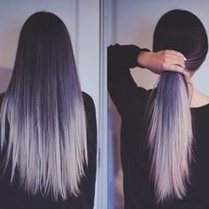hair styles for long hair hair colors for long hair Hair Color 2018, Hair Color Purple, Purple Ombre, Cool Hair Color, Silver Ombre, White Ombre, Silver Hair, Violet Ombre, Hair Colours