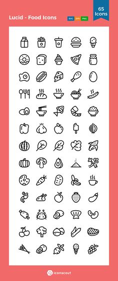 Lucid - Food Icons Icon Pack - 65 Line Icons