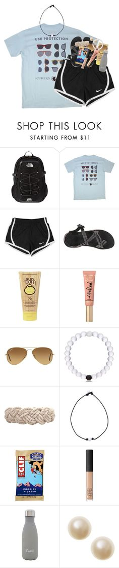 """submission for hiking contest:))"" by classynsouthern ❤ liked on Polyvore featuring The North Face, Southern Proper, NIKE, Chaco, Sun Bum, Too Faced Cosmetics, Ray-Ban, Swell, NARS Cosmetics and S'well"