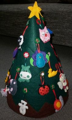 My Felt Christmas Tree that I made following Martina's pattern. You can find her tree on my Pinterest board 'Projects for Kids to Make'. For a copy of her pattern email Martina  boscomarty@gmail.com  I have added her pattern to my website.