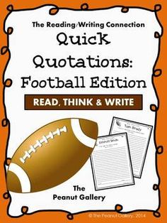 Common Core requires that students understand complex text independently. Here's a quick way for students to practice that really uses thinking skills! This would work well independently or in partners. It would also be great in an independent writing center or as a bell-ringer activity. Students analyze/ respond to a quotation (or more than one) of a famous football player. FIFTEEN different quotation sheets are included. Check out my other Quick Quotations sets! ($)