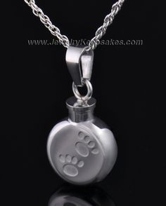 Pet Necklace Urn Stainless Steel Prancing Paws $49.95