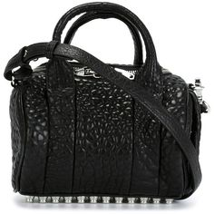 ALEXANDER WANG mini 'Rockie' tote (900 AUD) ❤ liked on Polyvore featuring bags, handbags, tote bags, alexander wang tote, black tote bag, mini tote, black handbags and studded purse