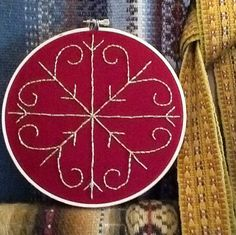 Handembroidered Latvian folk sign Moon / by KristaWorkLinens, $10.00