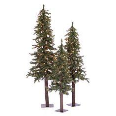 Vickerman Natural Alpine Multi-Color Pre-Lit Christmas Tree Set, Green