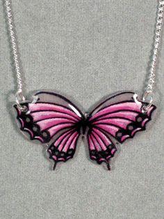 Bubblegum Pink Butterfly Shrinky Dink Necklace by craftasticity
