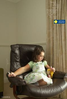 "The Roy Castle Lung Cancer Foundation did a campaign featuring children with one ""adult arm/hand"" holding lit cigarettes as a metaphor for the dangers of second-hand smoking.  http://thinkingvisuallyatunl.blogspot.com/2011/10/secondhand-smoke.html"