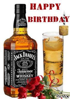 Happy Birthday Jack Daniels, Happy Birthday Whiskey, Happy Birthday Drinks, Happy Birthday Man, Funny Happy Birthday Wishes, Birthday Wishes Cake, Happy Birthday Celebration, Happy Birthday Cakes, Birthday Beer