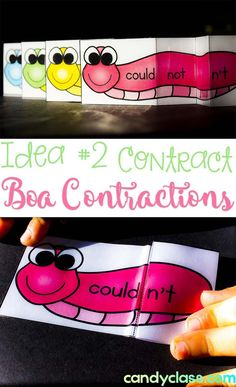 This post is full of ideas for teaching contractions and includes a freebie! These foldable boa constrictors are simply charming! A fun way for students to involve more of their senses while learning how to contract the words and use apostrophes. Word Work Activities, Teaching Grammar, Vocabulary Activities, Writing Activities, Teaching Tips, Teaching Reading, Fun Learning, Kinesthetic Learning, Grammar Skills