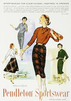 31b25768c Pendleton Sportswear plaid wool black brown tan white green dress sweater  blouse skirt 50s era vintage
