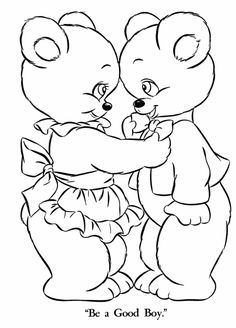 Teddy Bear Coloring pages | Momma Bear and Boy