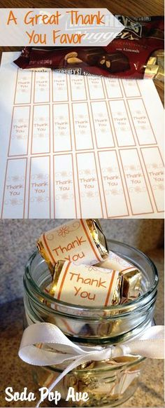 This is a great way to say Thank You to a friend or neighbor! Free download for the candy wrappers. Get the download at www.SodaPopAve.com