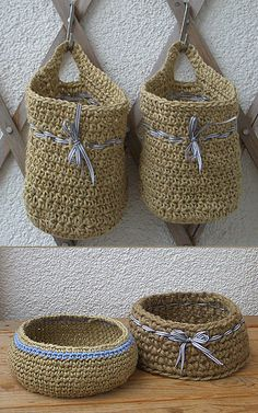 baskets made out of jute and parcel twine, crochet