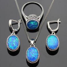 Yuvarlak Yangın Mavi Opal Taşlar Kadınlar Için Gümüş Renk Takı Setleri Kolye Kolye Damla Küpe Yüzük Ücretsiz Hediye Kutusu