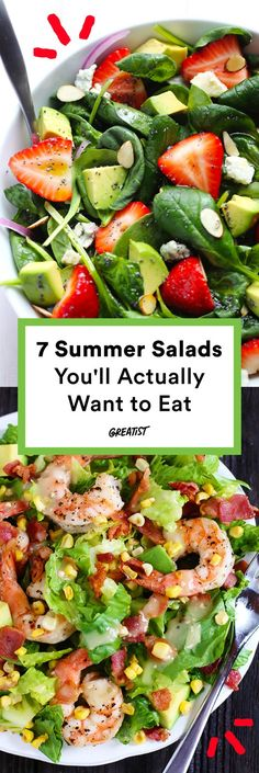 They're all quick, easy to make, and packed with tons of juicy flavor. - They're all quick, easy to make, and packed with tons of juicy flavor. Summer Salad Recipes, Healthy Salad Recipes, Healthy Drinks, Vegetarian Recipes, Fresh Salad Recipes, Vegetable Salad Recipes, Vegetarian Salad, Vegetable Dishes, Smoothie Recipes