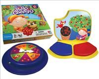 Hi Ho Cherry-O adapted for special needs population. The game board comes with two switch plates and a spinner that is activated by pressing the sides or activating a capability switch. VAW