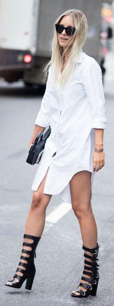 Thefashionguitar White Shirt Dress Black Multi Buckle Sandal Boots Fall Inspo